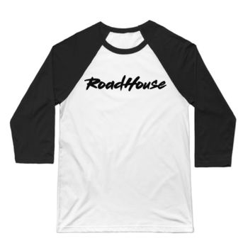 ROADHOUSE - Premium 3/4 Sleeve Baseball T-shirt - White/Black Thumbnail