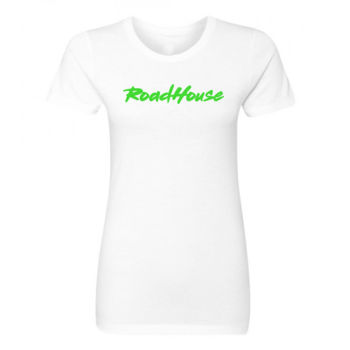 ROADHOUSE - Premium Women's Short Sleeve T-Shirt - White w/ Green Print Thumbnail