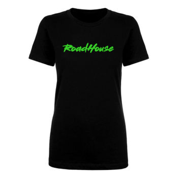 ROADHOUSE - Premium Women's Short Sleeve T-Shirt - Black w/ Green Print Thumbnail
