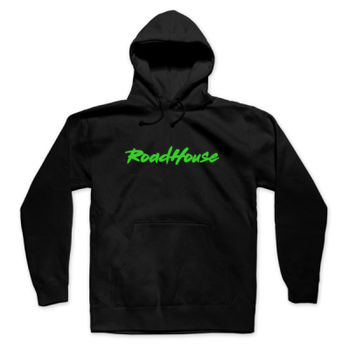 ROADHOUSE - Premium Pullover Hoodie - Black w/ Green Print Thumbnail