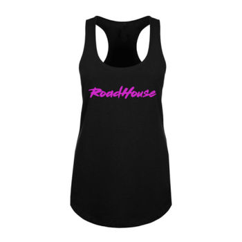 ROADHOUSE - Premium Women's Racerback Tank Top - Black w/ Magenta Print Thumbnail