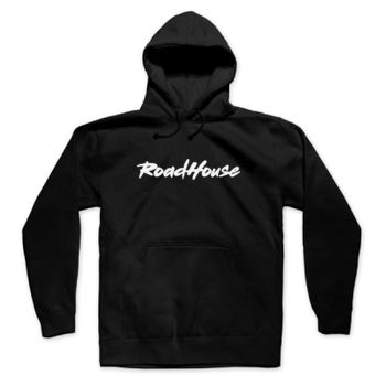ROADHOUSE - Premium Pullover Hoodie - Black w/ White Print Thumbnail