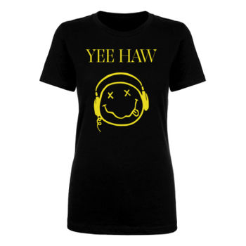 YEE HAW - Premium Women's Short Sleeve T-Shirt - Black Thumbnail