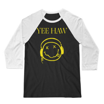 YEE HAW - Premium 3/4 Sleeve Baseball T-Shirt - Black/White Thumbnail