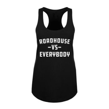 ROADHOUSE VS EVERYBODY - Premium Women's Racerback Tank Top - Black Thumbnail